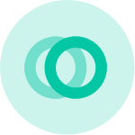 partially transparent green circle with two green rings overlaid on top