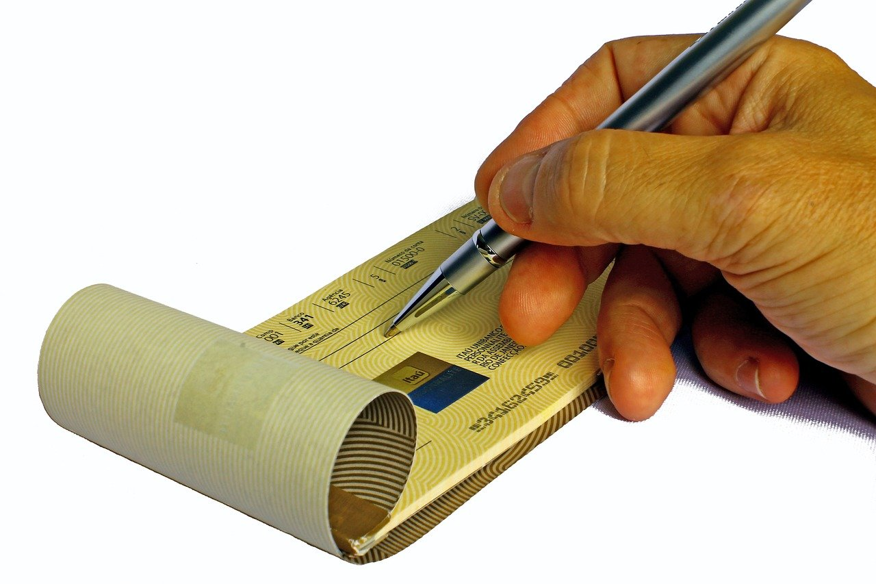 A paper check that's less efficient than electronic check payment